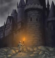 Заколдованный замок (обложка для книги фентези)