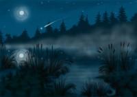 Ночное озеро, иллюстрация