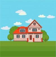 Дом в деревне, отрисовка в векторе