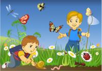 Дети-энтомологи (векторная иллюстрация к детской книге)