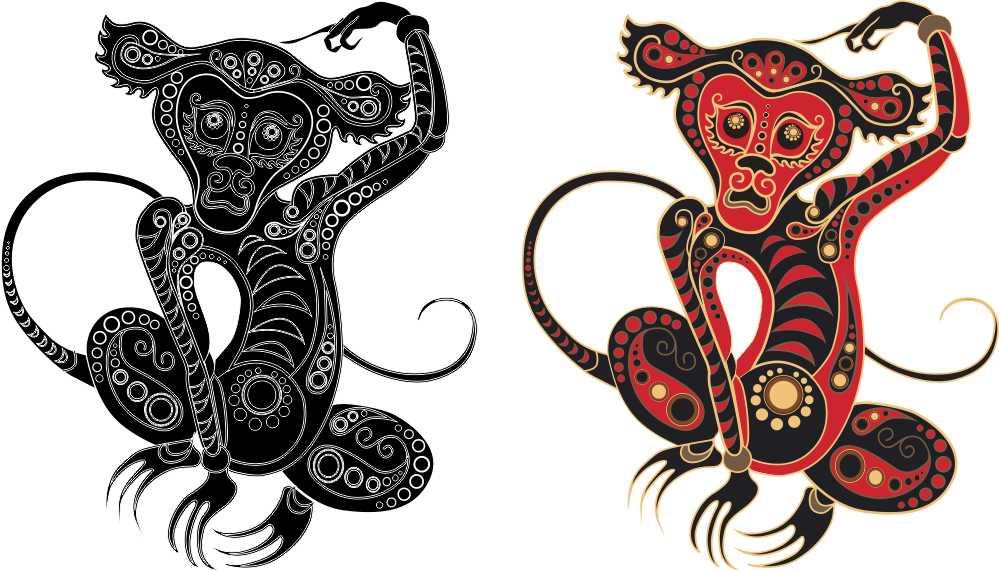 Обрисовка обезьяны и часов в векторе
