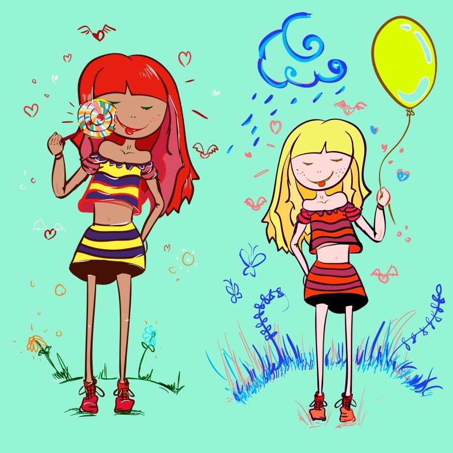 Девочки с шариком и леденцом на Шаттер
