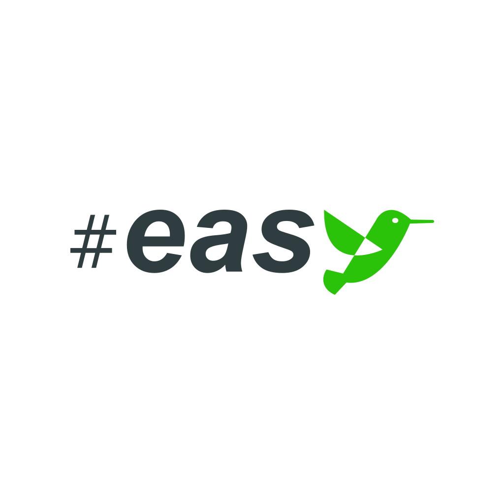 Разработка логотипа в виде хэштега #easy с зеленой колибри  фото f_8705d4f22008169a.jpg
