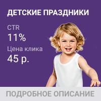 Детские праздники - 8 клиентов за 13 дней по 1 000 рублей