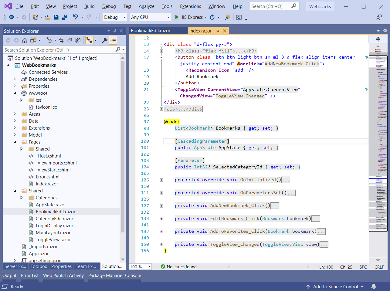 Веб закладки (C#, ASP.NET Core, Blazor)