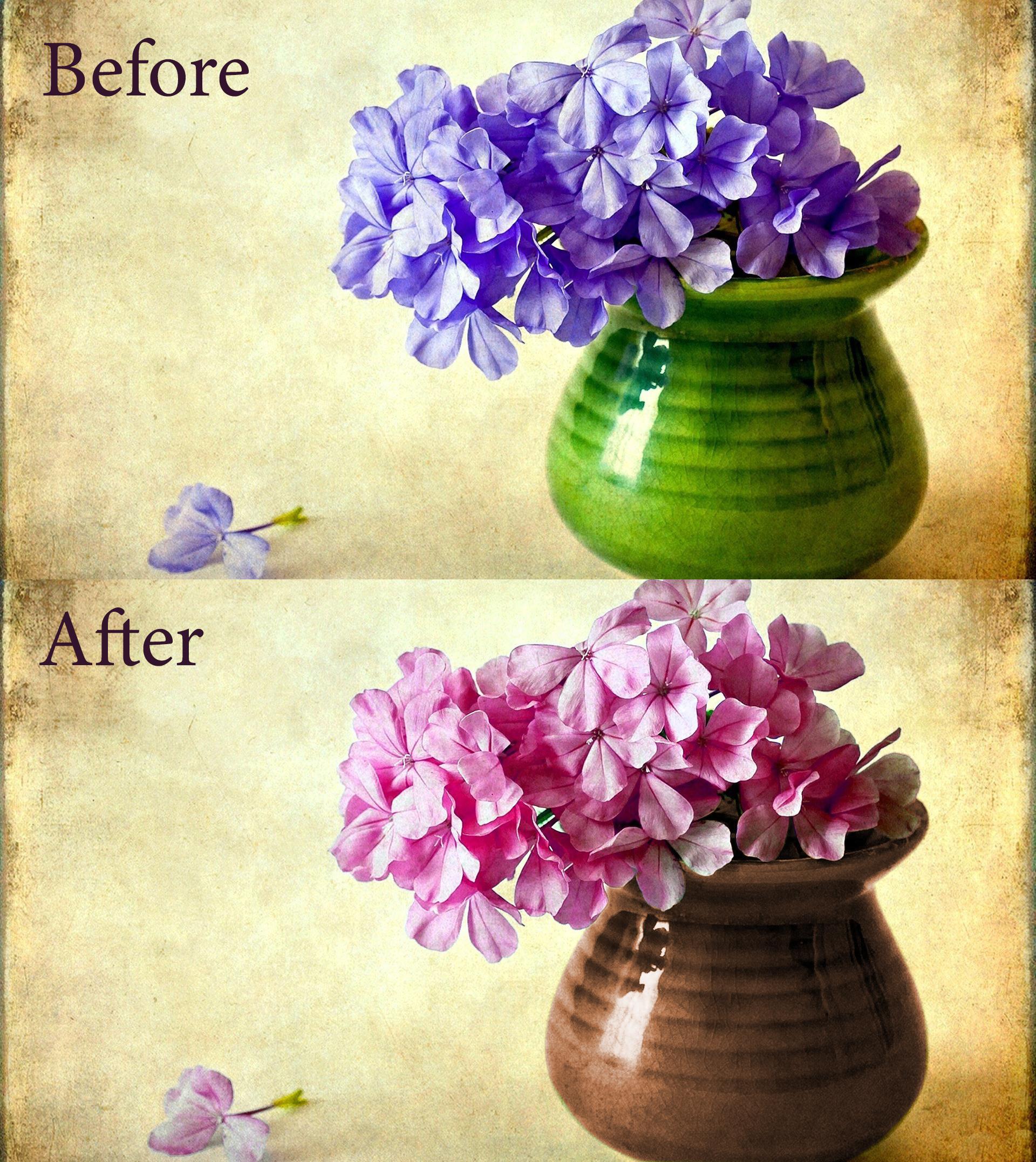 Замена цвета - Ваза с цветами