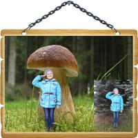 Замена фона - Девочка под грибочком