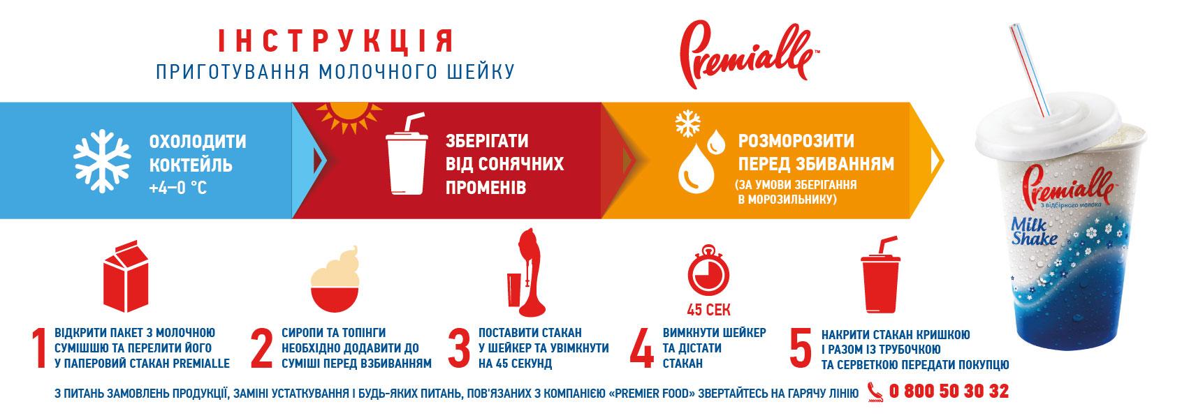 Инструкция приготовления молочного шейка Premialle