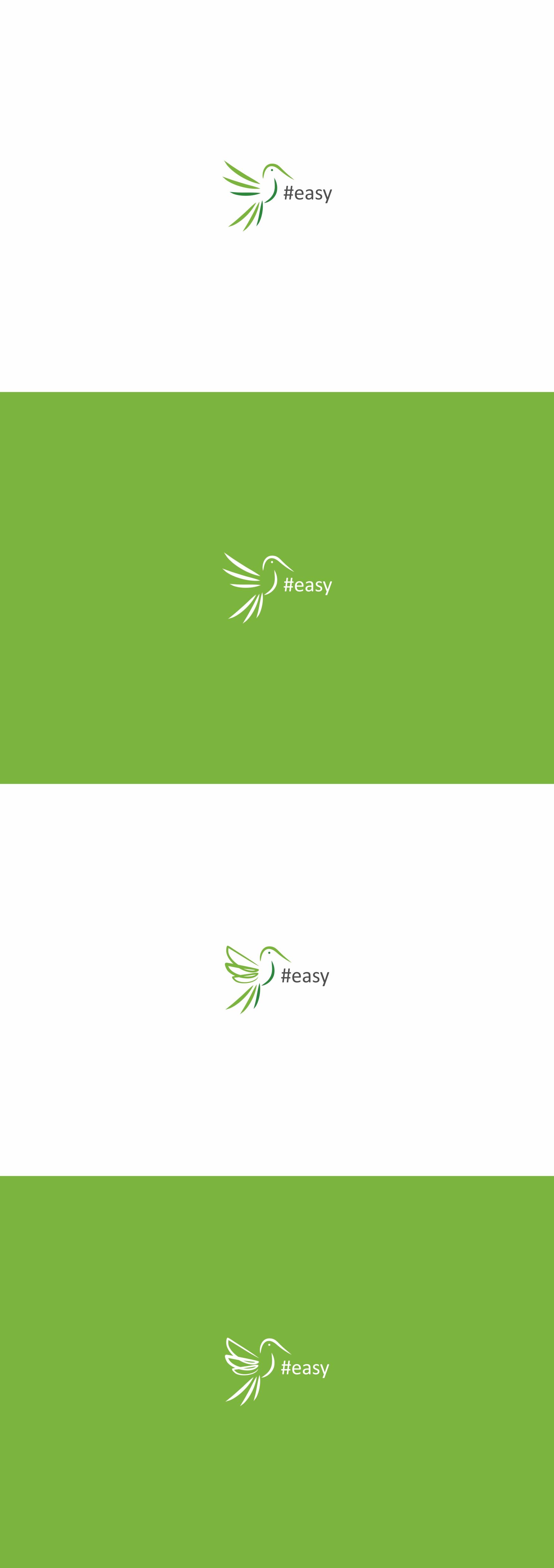 Разработка логотипа в виде хэштега #easy с зеленой колибри  фото f_8205d5170f3a32bb.jpg