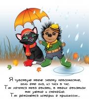 Кот и ёж. Дождь