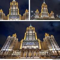 Ночная фотосъемка отеля Radisson Royal Hotel Moscow (Гостиница Украина)