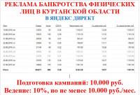 Яндекс Директ - реклама банкротства физических лиц. Курганская область, август 2019