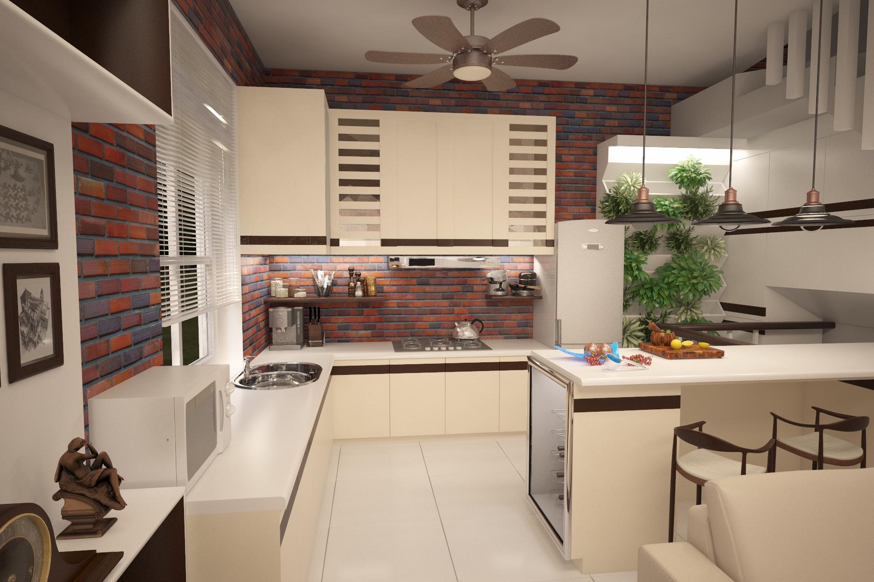 Кухня столовая в загородном доме