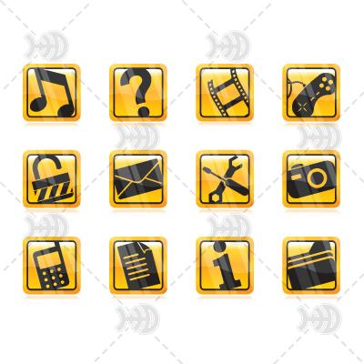 Набор золотых иконок.