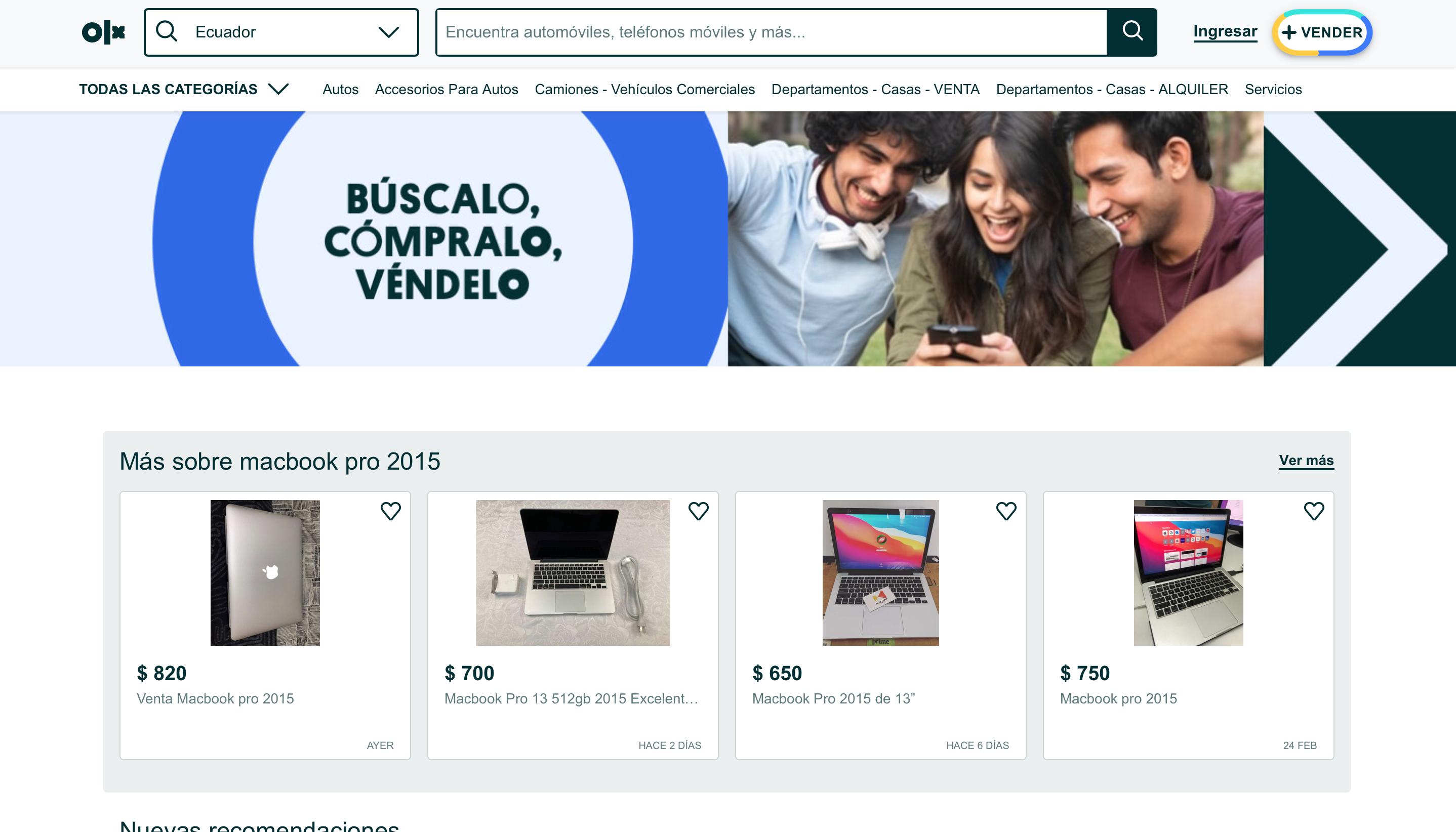 Редизайн и разработка фронтенда сайта Olx.com.ec. Эквадор