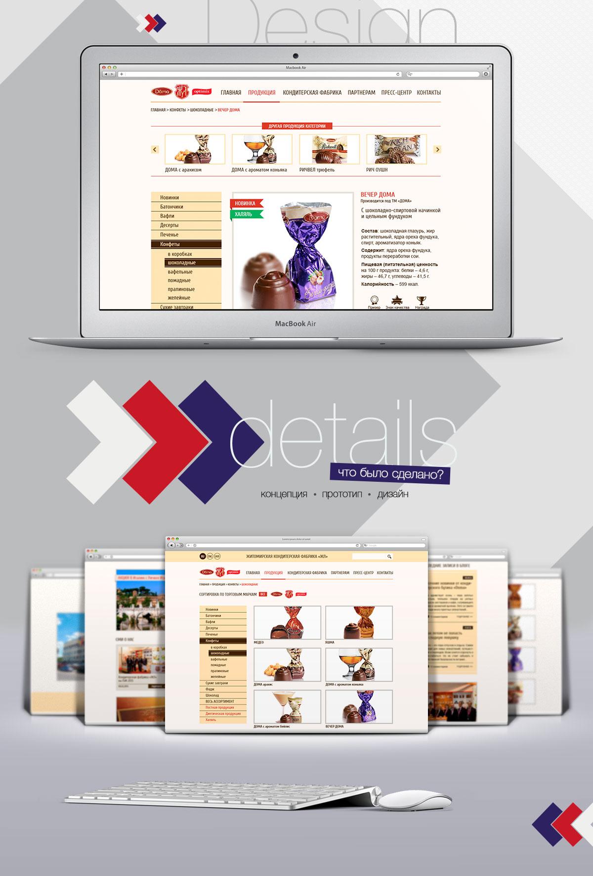 Дизайн сайта кондитерской фабрики