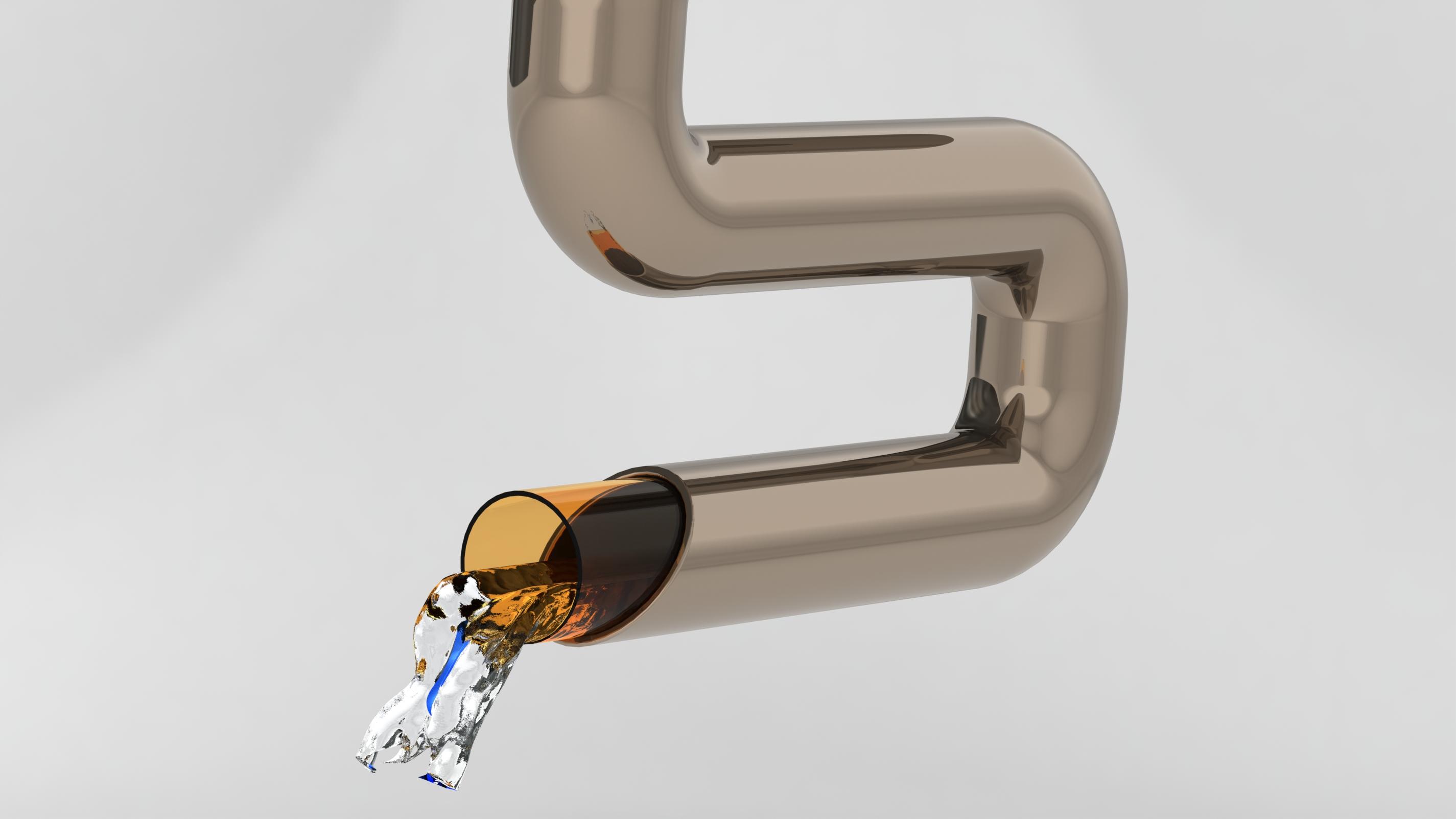 Визулизация трубки с полимерным покрытием с демонстрацией ее особенности