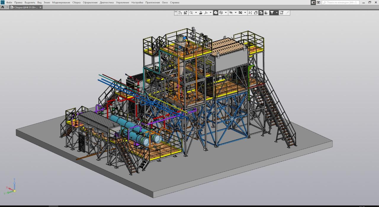 Проектирование узла для нефтяной отрасли(циклоны, теплообменники, рамы, включая расчет, трубопровод