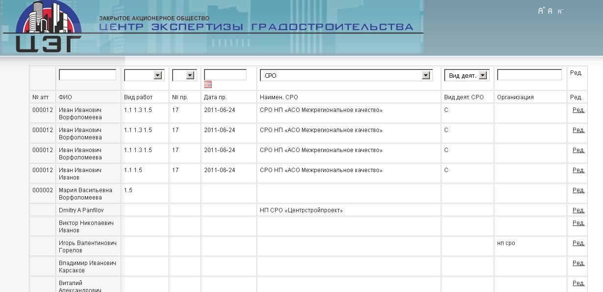 Разработка модуля реестра