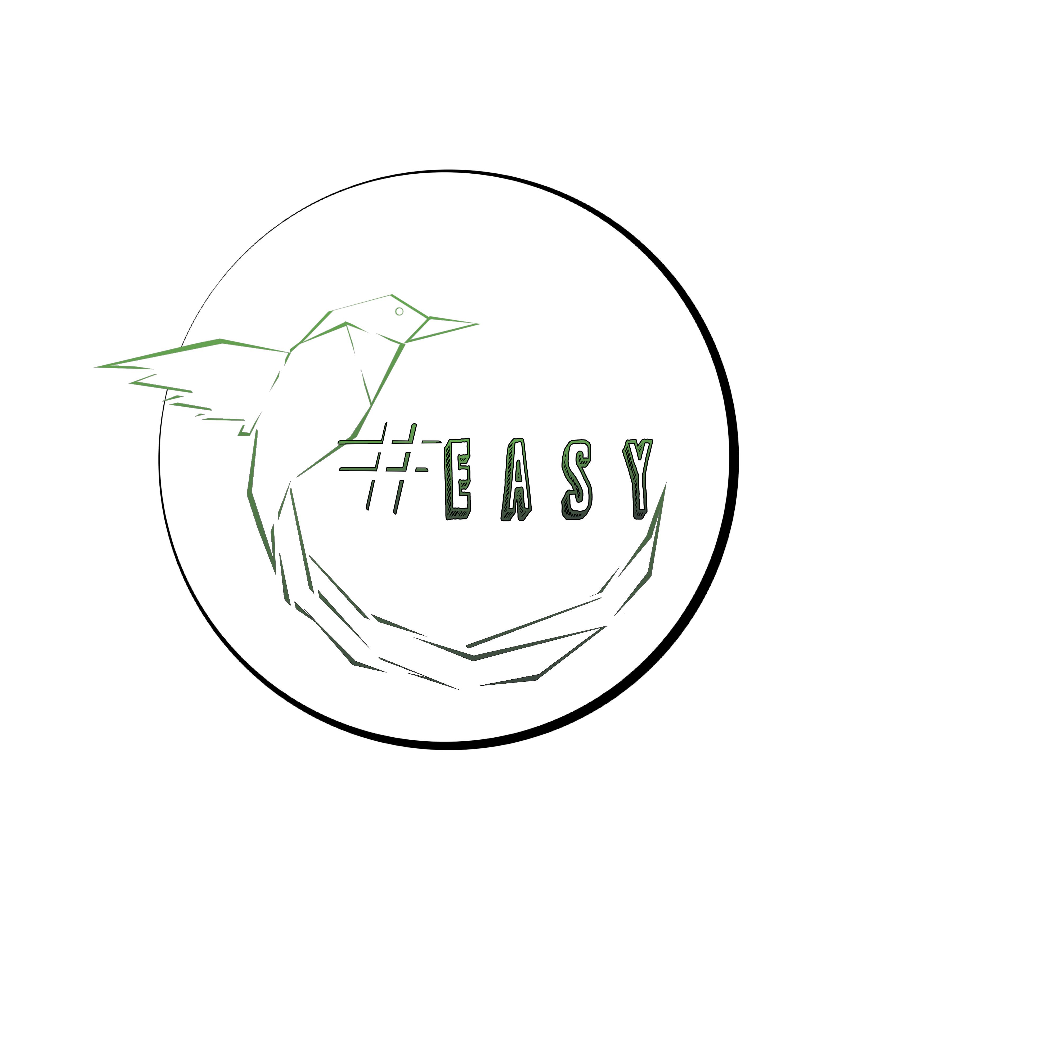Разработка логотипа в виде хэштега #easy с зеленой колибри  фото f_7305d4e54b764f88.png