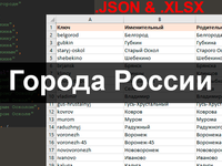Все города России в склонении по падежам в json и excel форматах