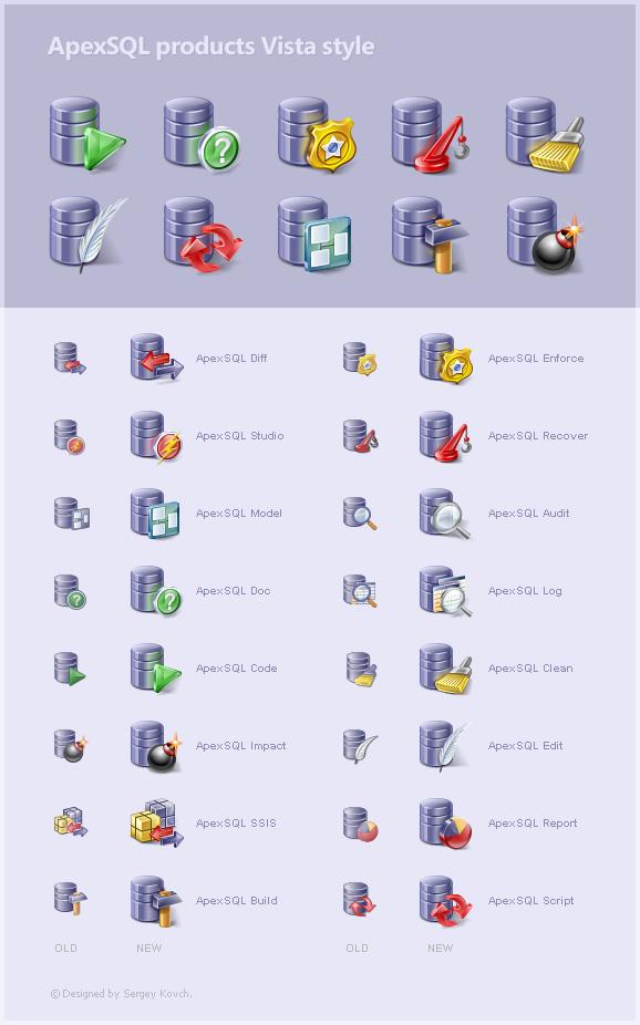 ApexSQL program icons