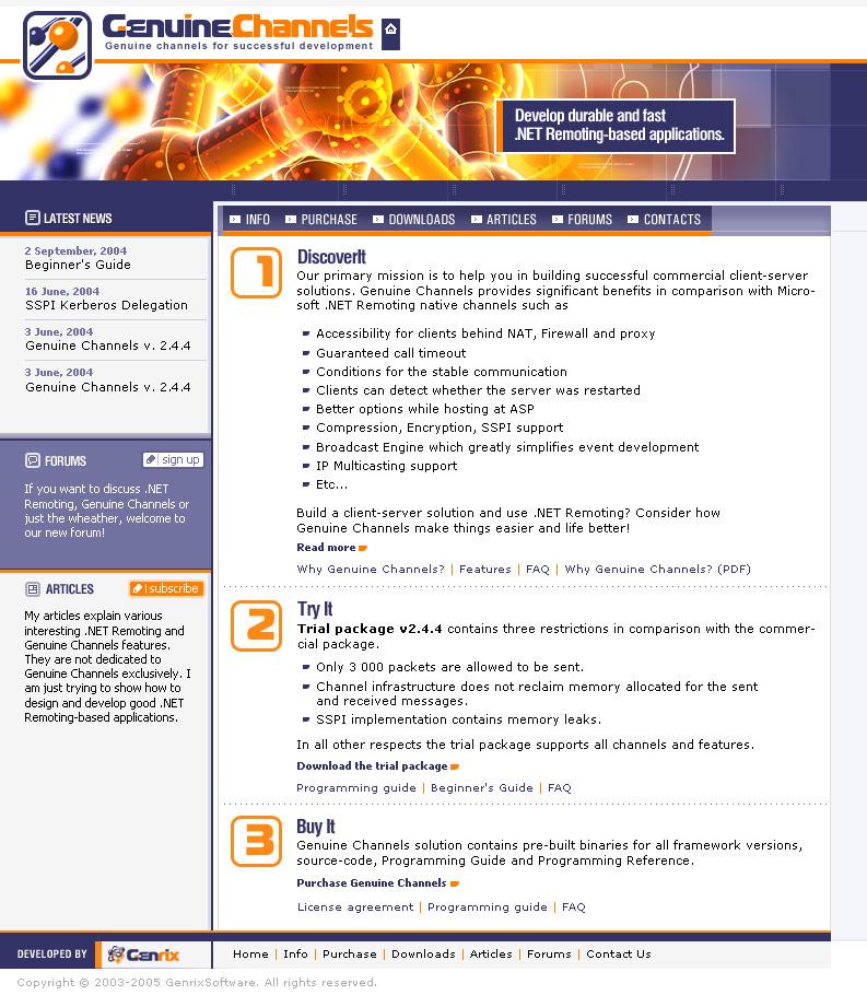 Сайт GenuineChannels, 2004