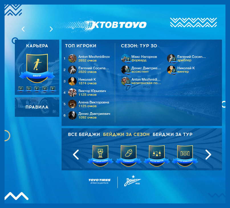 Приложения для ВКонтакте. Toyo Football Team