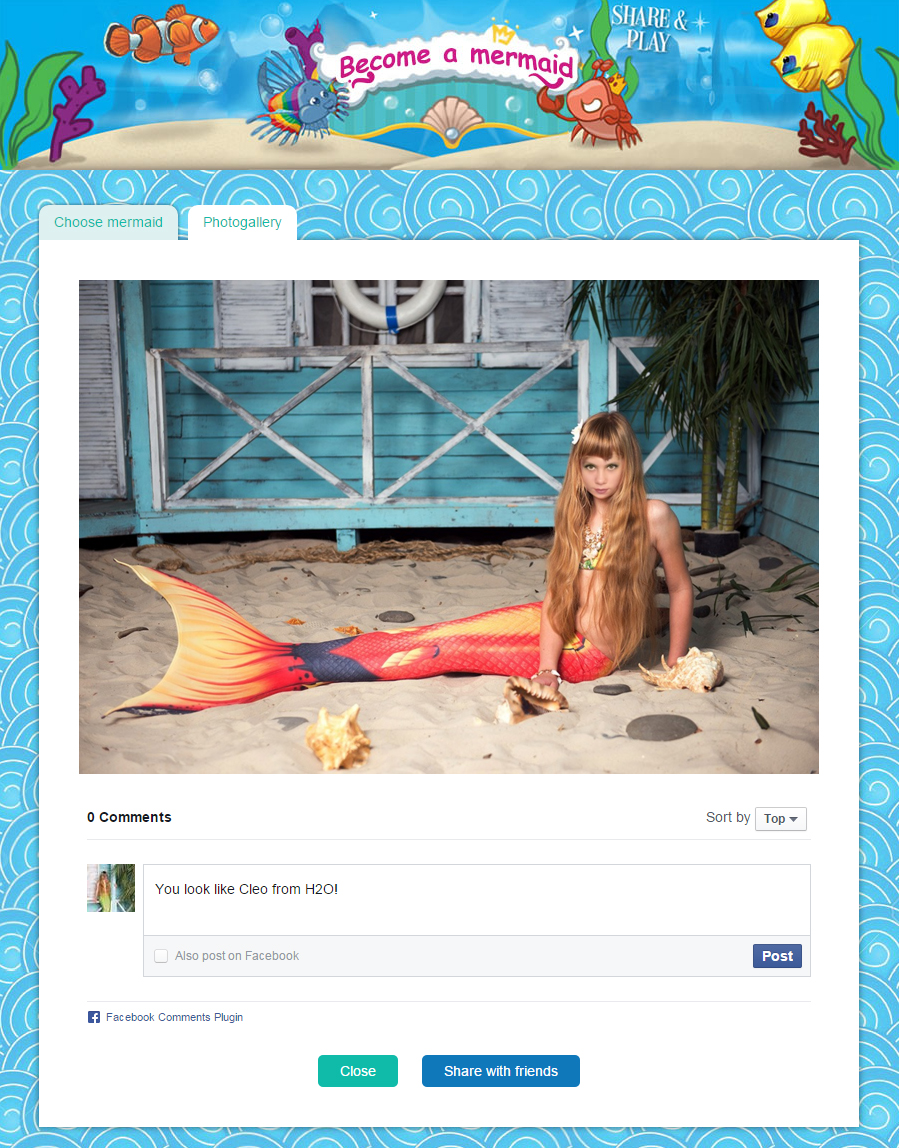 Приложение для Facebook и ВКонтакте. Стань русалочкой