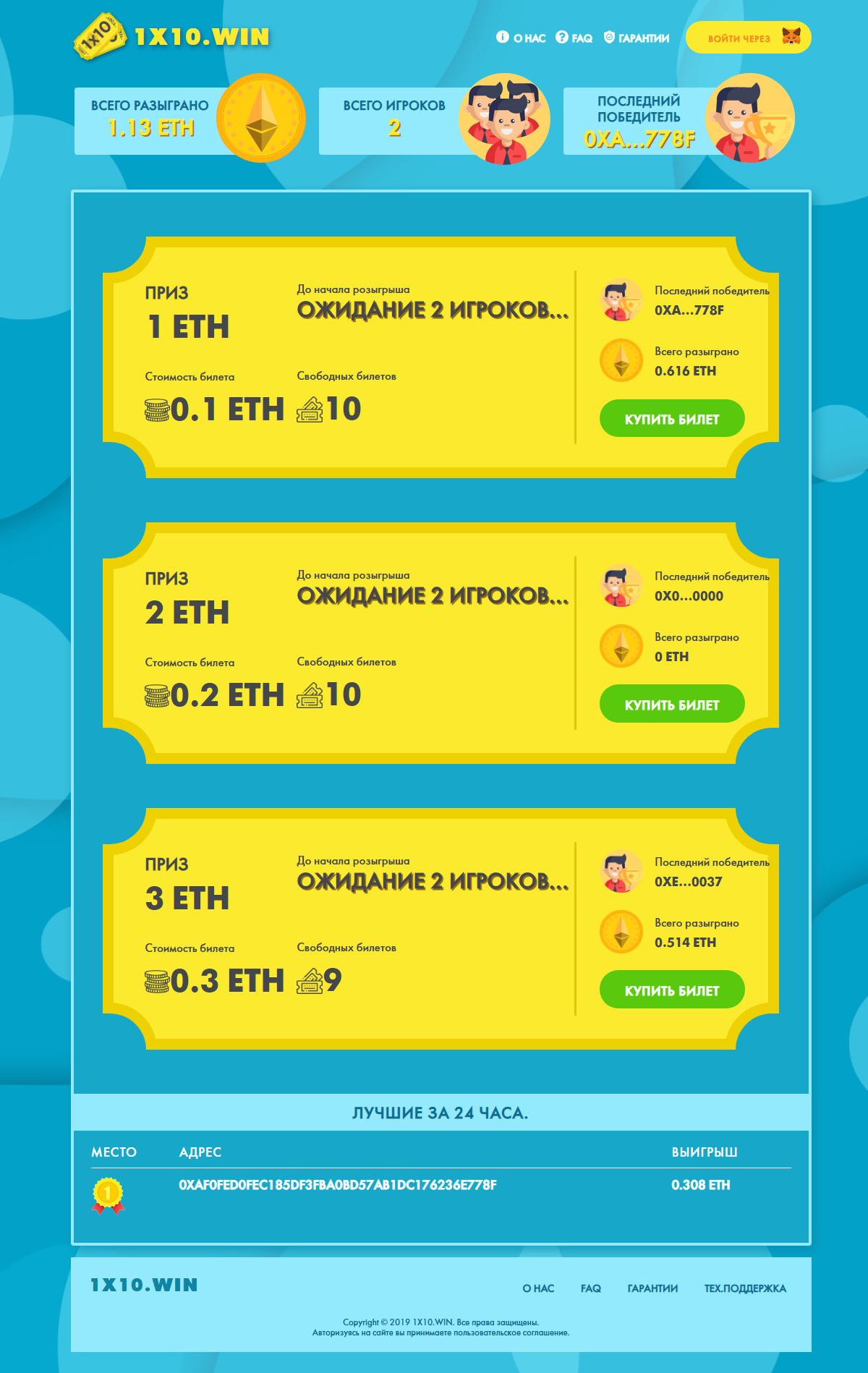 1x10: билеты (кейсы) на смартконтракте ETH