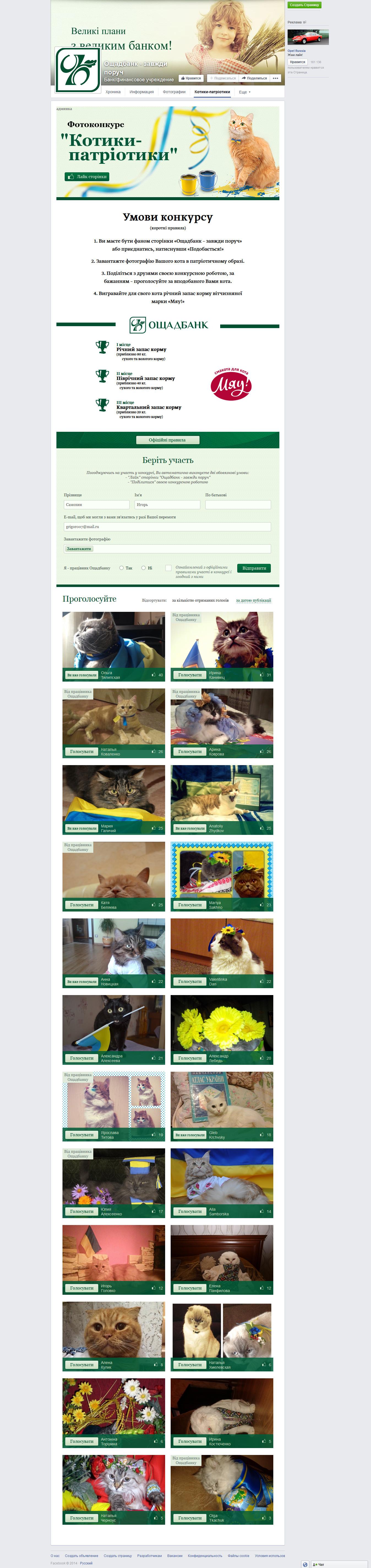 Приложение для Facebook. Котики-патриотики.