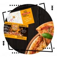 Дизайн визитных карт и меню для службы доставки пиццы
