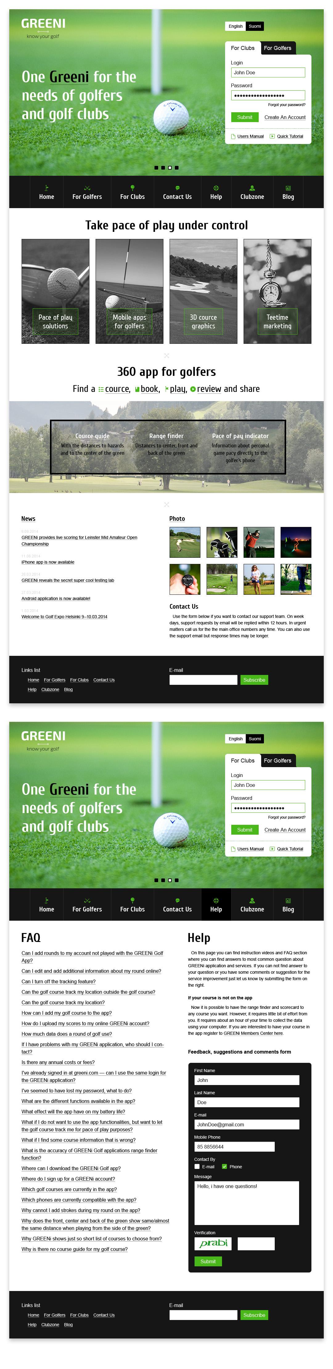 «Greeni Golf» сайт для гольф-приложения