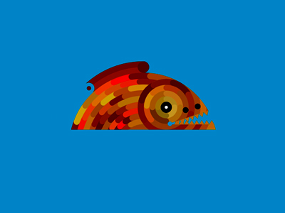 Красная зубастая рыба