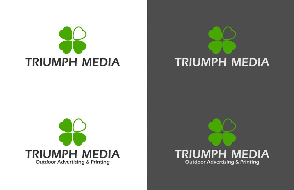 Разработка логотипа  TRIUMPH MEDIA с изображением клевера фото f_50700c6f59325.png