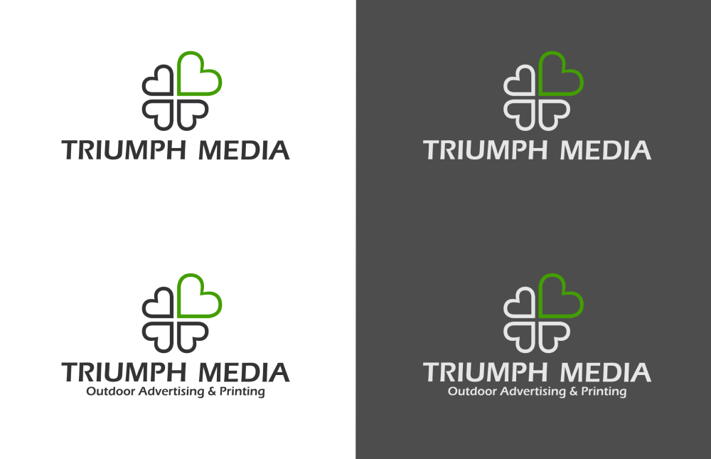 Разработка логотипа  TRIUMPH MEDIA с изображением клевера фото f_507148c4911ee.png