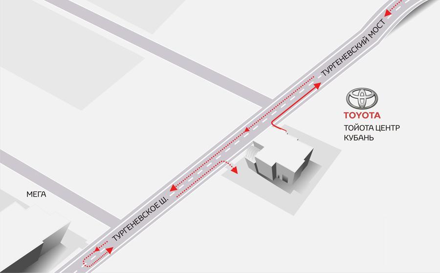 Схема проезда для Тойота Центр Кубань