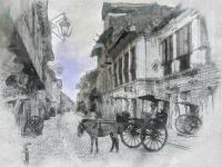 Стилизация под рисунок, старая улица