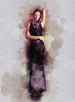 Стилизация под цветной рисунок, девушка в платье