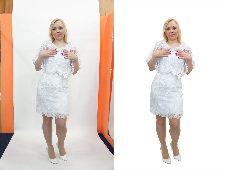 Обтравка белого платья на белом фоне №3