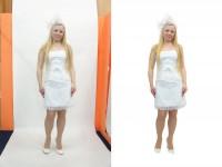 Обтравка белого платья на белом фоне №2