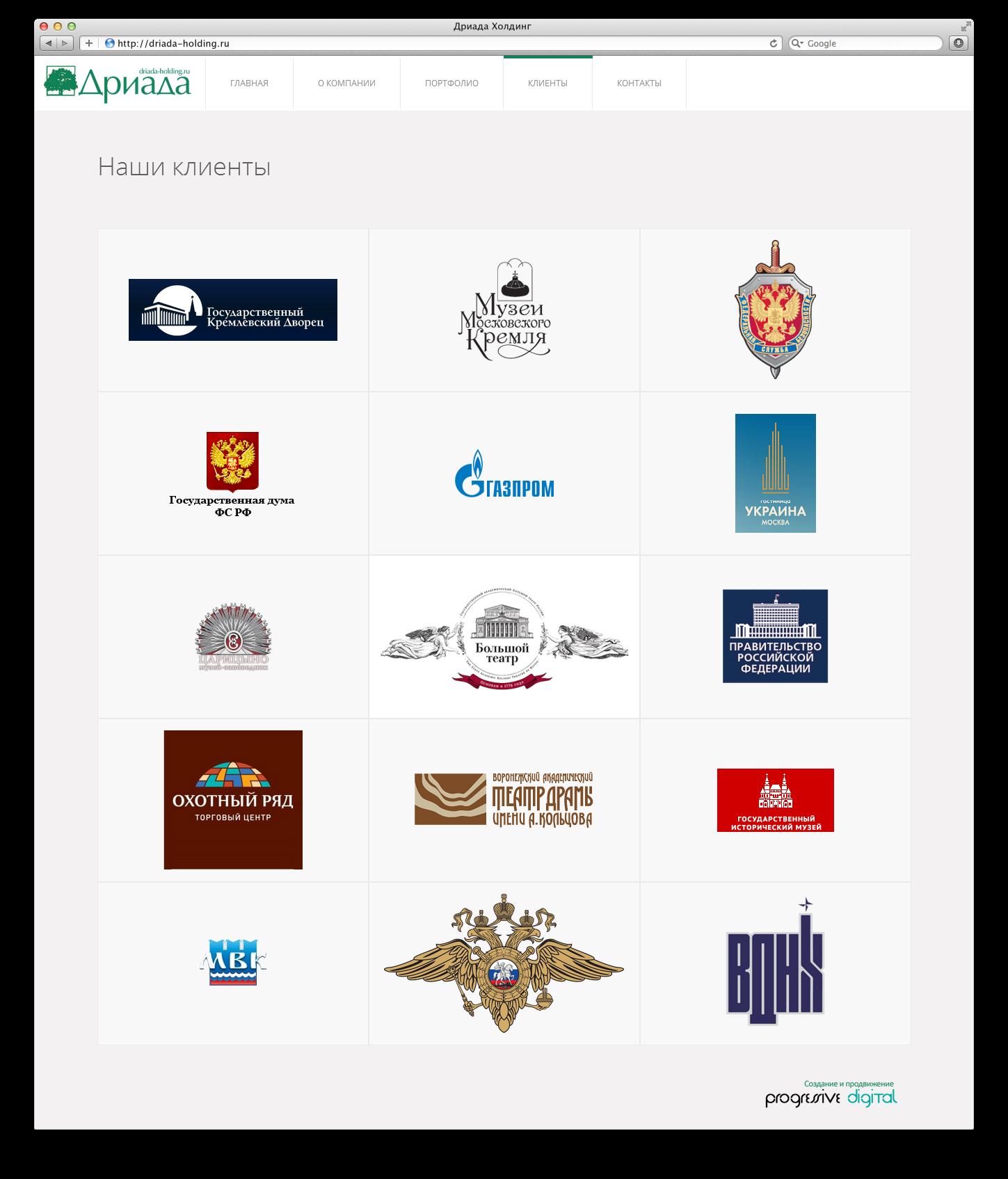 Driada-holding.ru (корпоративный сайт, Wordpress)