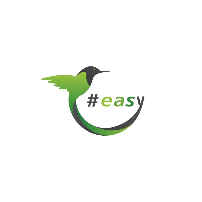 Разработка логотипа в виде хэштега #easy с зеленой колибри  фото f_4025d4ef10b1c852.png