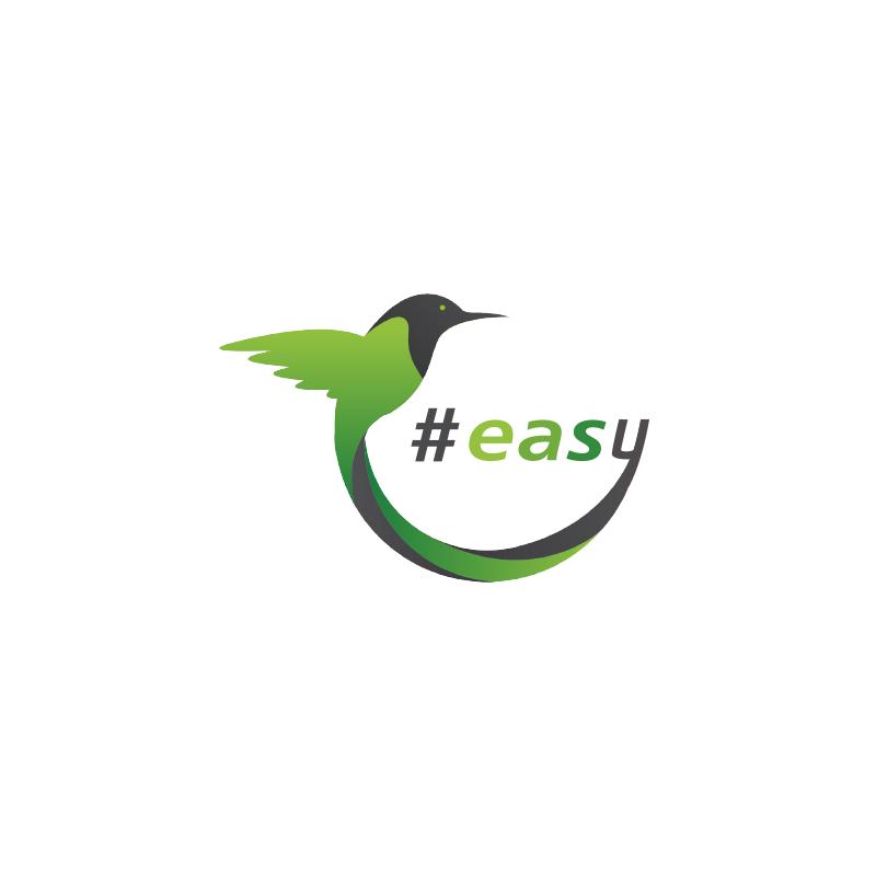 Разработка логотипа в виде хэштега #easy с зеленой колибри  фото f_4385d4ef1116f860.png