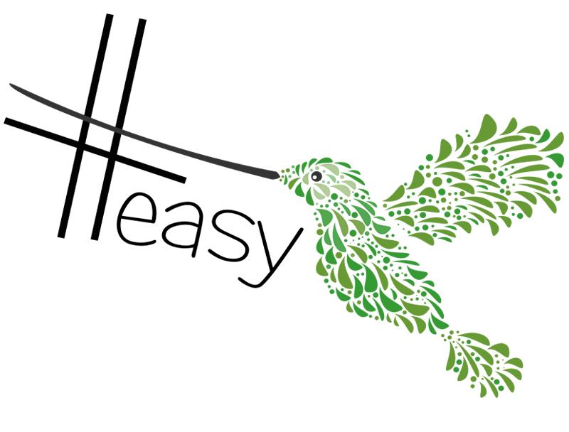 Разработка логотипа в виде хэштега #easy с зеленой колибри  фото f_3135d526b8b35cec.jpg