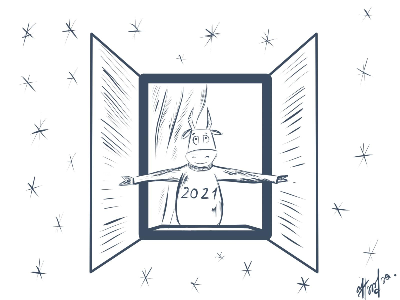 Создать рисунки быков, символа 2021 года, для реализации в м фото f_4755f049e0b069a9.jpg