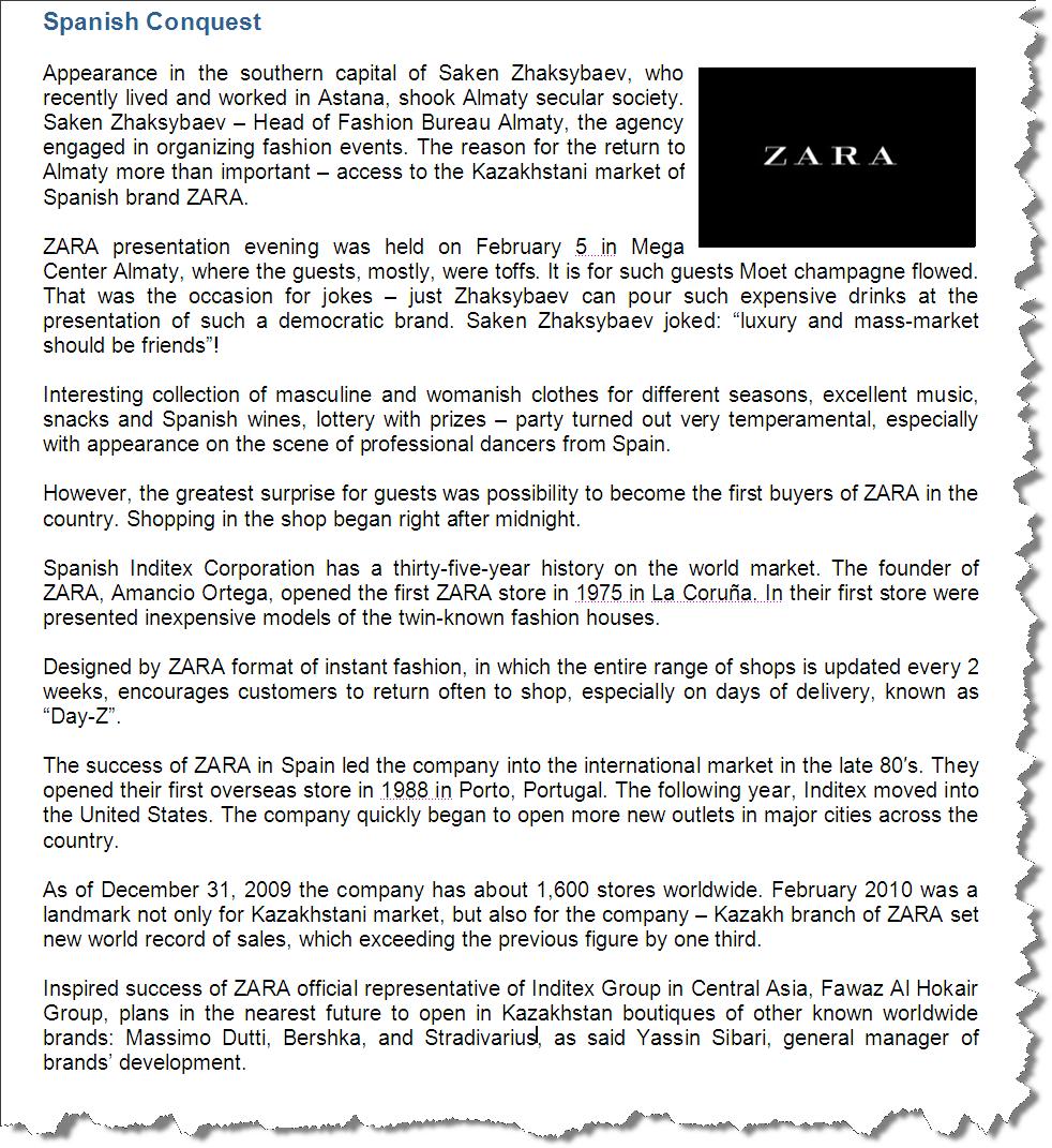 Выход Zara на рынок Казахстана (eng.)