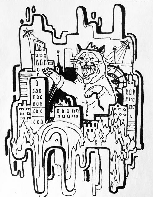 Гигантский кот в костюме динозавра разрушает город