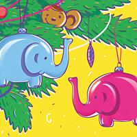 Открытка С Новым 2016 Годом! Два слона