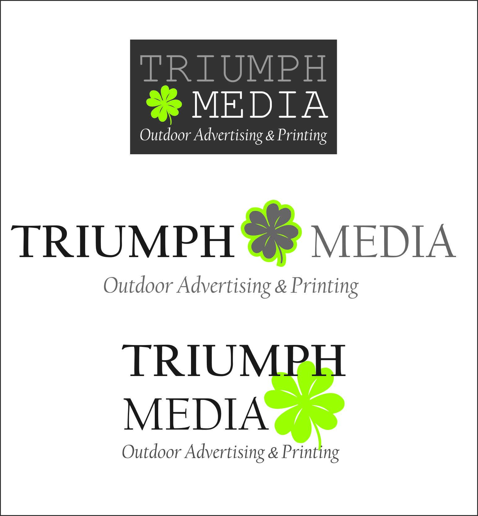 Разработка логотипа  TRIUMPH MEDIA с изображением клевера фото f_5074019b11084.jpg